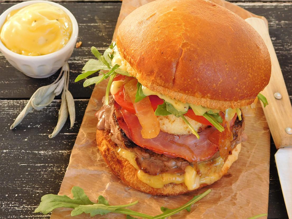 Recette de burger de veau, chèvre et sauge bio