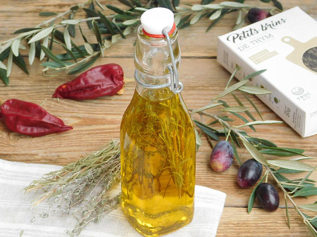 Recette huile d'olive aromatisée thym romarin bio par Truc & Co