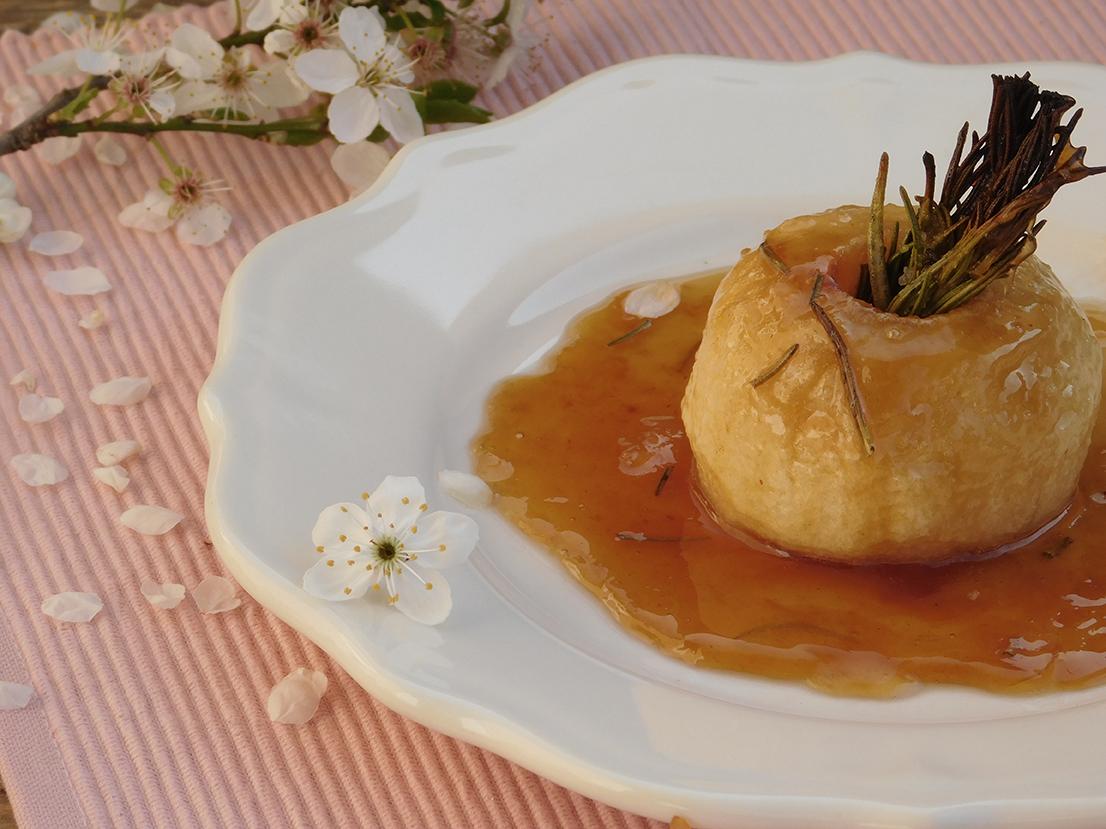 Recette de pomme rotie caramel romarin bio